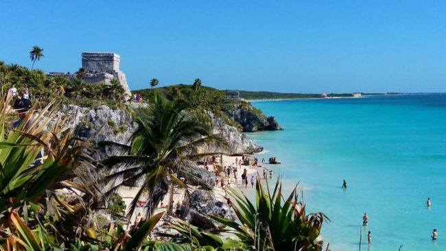 Take a Dip in the Sea by Tulum Ruins - Solo Travel in Tulum Mexico