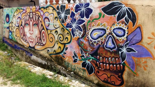 Cool street art in Tulum Mexico