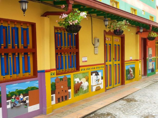 Colourful Houses in Guatape near Medellin - Travelling Alone to Colombia