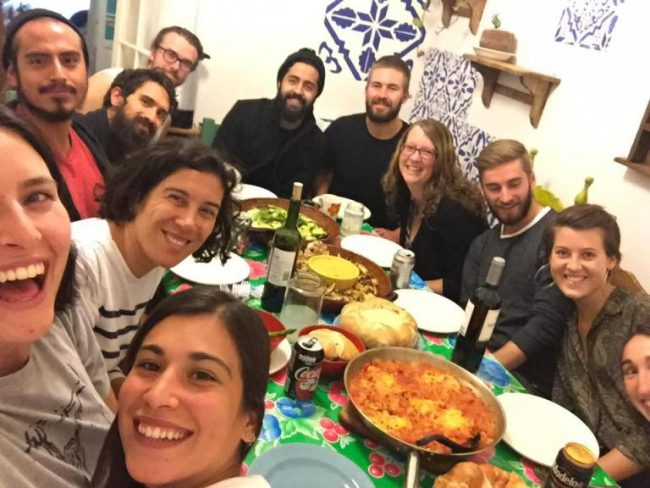 Dinner at a Hostel I volunteered at in Mexico City - Ways to Meet People While Travelling Alone