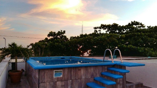 The rooftop Terrace and Pool at Amorcito Corazon Hostel Tulum