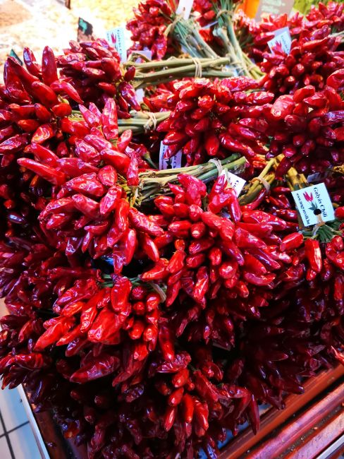Bunches of paprika Peppers at the Market in Budapest