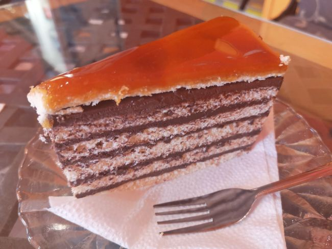 Traditional Desserts to Eat in Budapest - Dobos Torta Chocolate Layer Cake