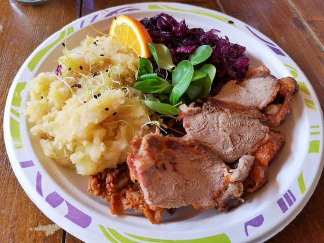 What to Eat in Budapest - A Plate of Roast Duck with Red Cabbage and Potato