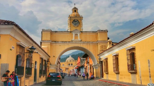 Yello Clock Tower Archway in Antigua Guatemala - The Best Places for Solo Female Travel