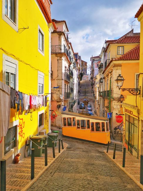 I loved Travelling Solo in Lisbon - The Best Destinations for Solo Female Travel - Yello Tram passes by Yellow Buildings